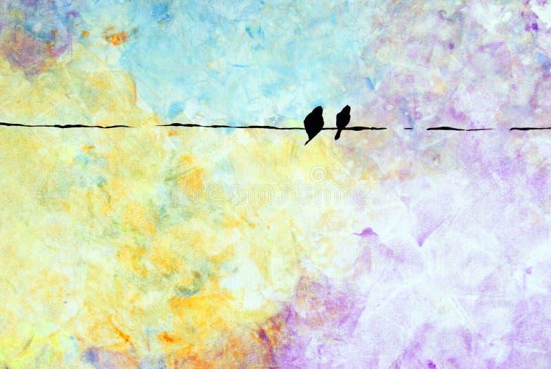 πουλιά δύο καλώδιο στοκ φωτογραφία