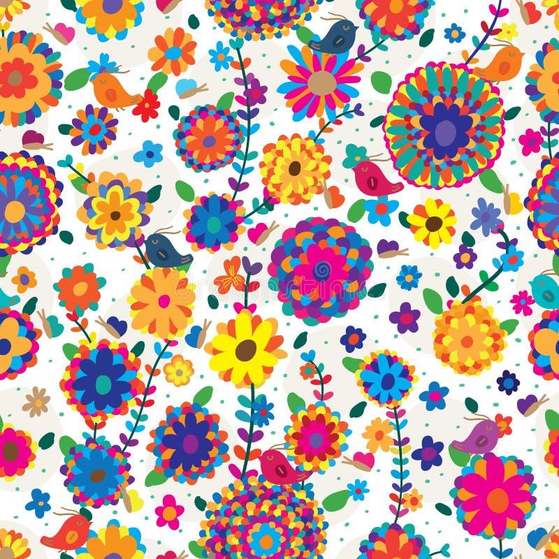 Πουλιών πεταλούδων άνευ ραφής σχέδιο εδάφους λουλουδιών ζωηρόχρωμο ελεύθερη απεικόνιση δικαιώματος