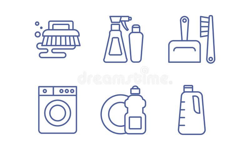 Που καθαρίζει η υπηρεσία τα εικονίδια καθορισμένα, οικοκυρική, πλύση και τακτοποίηση υπογράφει τη διανυσματική απεικόνιση σε ένα  ελεύθερη απεικόνιση δικαιώματος
