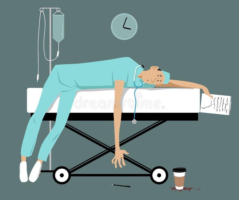 Που κουράζεται γιατρός και καταπονημένος διανυσματική απεικόνιση