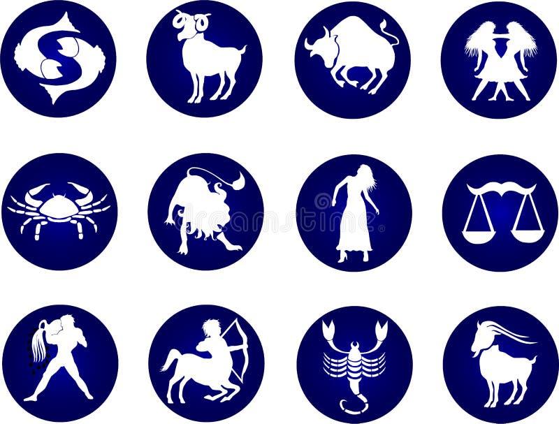 που τίθενται τα κουμπιά zodiac διανυσματική απεικόνιση