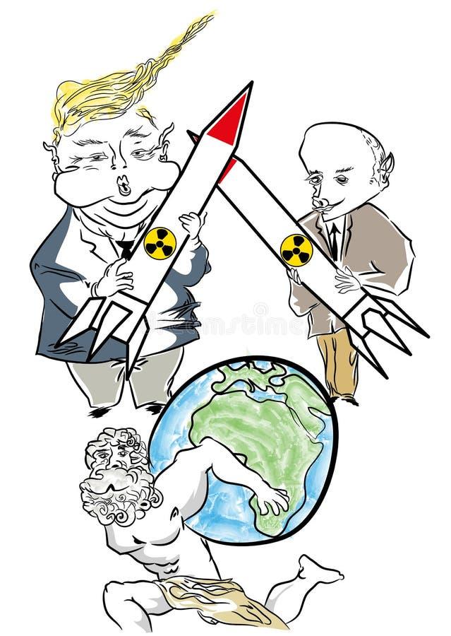 Πούτιν εναντίον της καρικατούρας κινούμενων σχεδίων του Ντόναλντ Τραμπ ελεύθερη απεικόνιση δικαιώματος