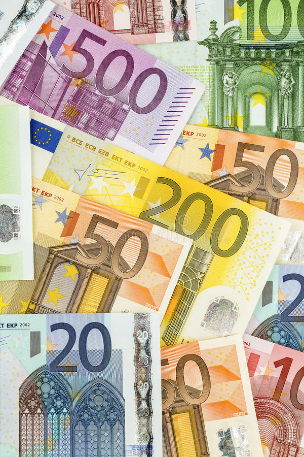 Πολλά ευρο- τραπεζογραμμάτια Στοκ Εικόνα