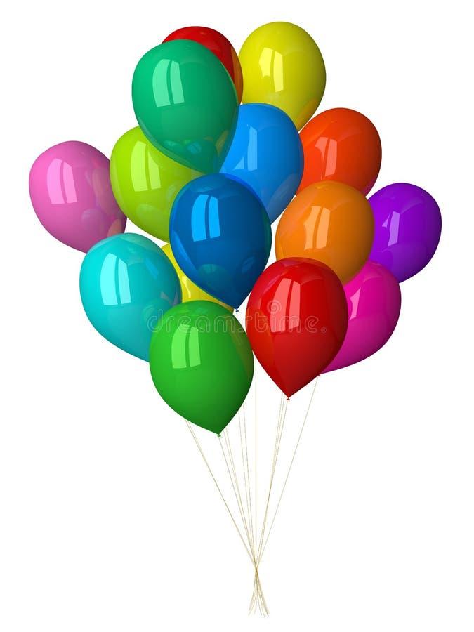 Πολλά πολύχρωμα στιλπνά μπαλόνια διανυσματική απεικόνιση