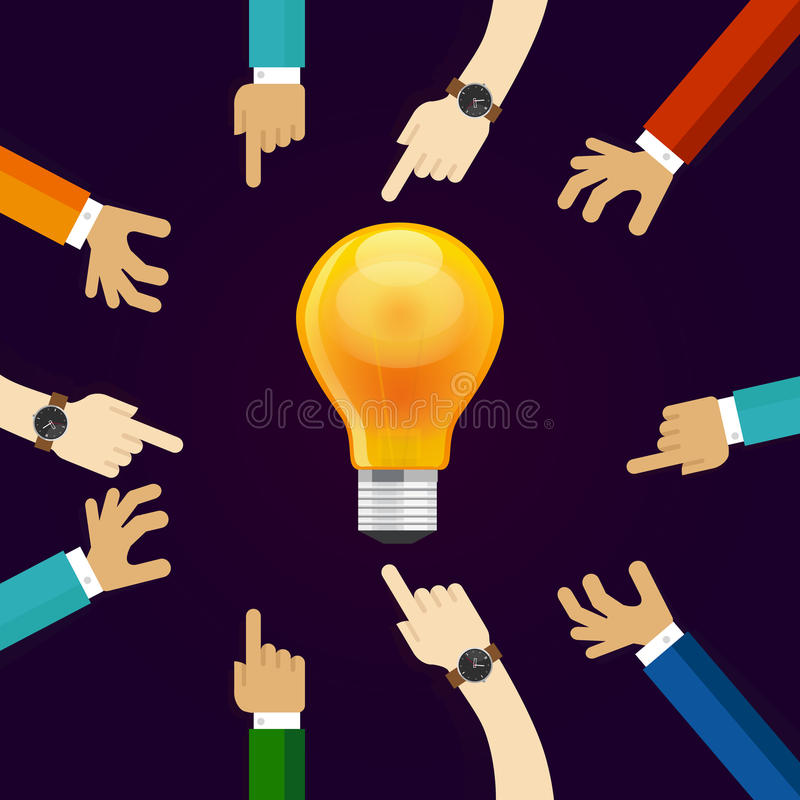 Πολλά χέρια που λειτουργούν μαζί για μια ιδέα ένας λαμπτήρας βολβών λάμπει έννοια της συνεργασίας και της συμμετοχής ομαδικής εργ διανυσματική απεικόνιση