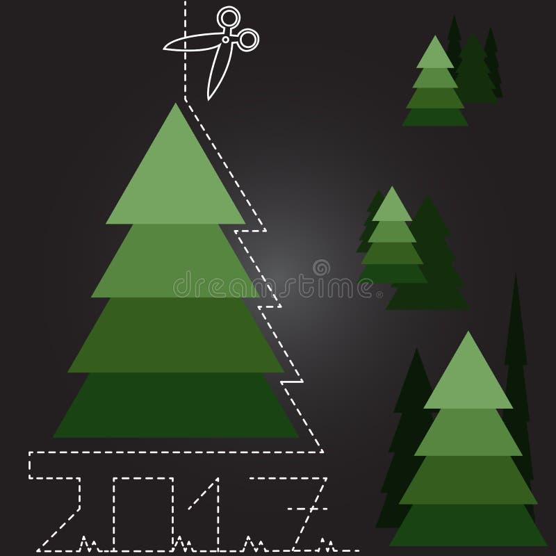 Πολλά χριστουγεννιάτικα δέντρα στο νέο έτος απεικόνιση αποθεμάτων
