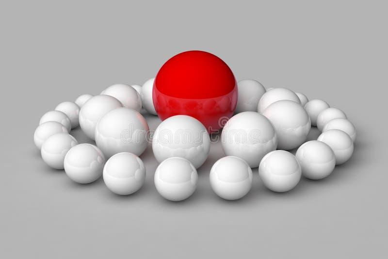 Πολλές άσπρες σφαίρες μεταξύ των οποίων το κόκκινο ξεχωρίζει απεικόνιση αποθεμάτων