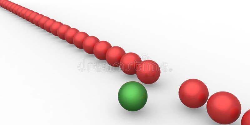 Πολλές ίδιες τρισδιάστατες κόκκινες σφαίρες και μόνο ένα πράσινο διαφορετικό άσπρο υπόβαθρο σφαιρών απεικόνιση αποθεμάτων
