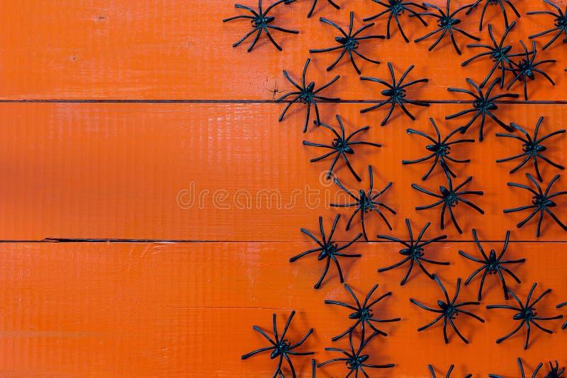 Πολλές μαύρες αράχνες στους χρωματισμένους πορτοκαλιούς ξύλινους πίνακες στοκ φωτογραφίες