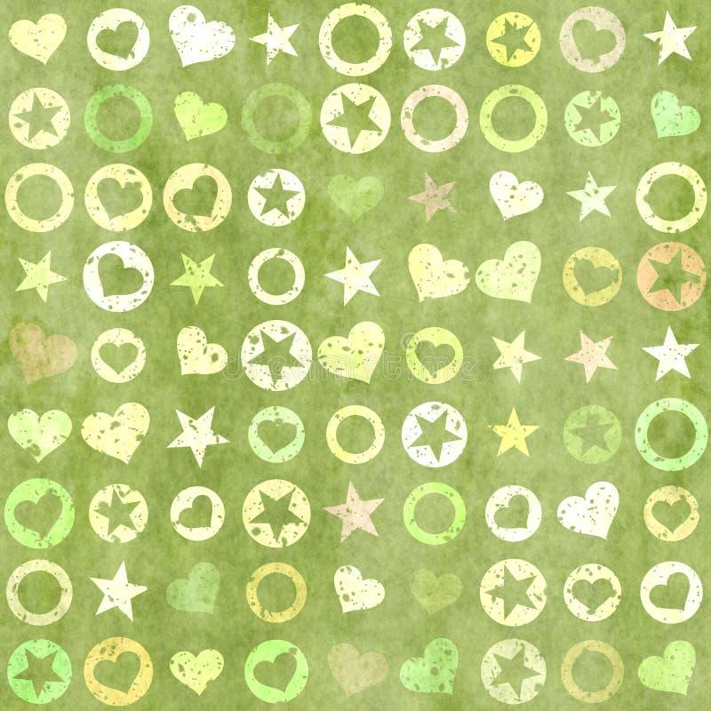 Πολλές μορφές της καρδιάς, των αστεριών και του κύκλου στα υπόβαθρα grunge ελεύθερη απεικόνιση δικαιώματος
