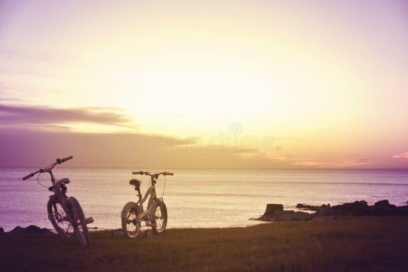 Ποδήλατα οικογενειακής διασκέδασης Απολαύστε τη θερινή έννοια στοκ εικόνα με δικαίωμα ελεύθερης χρήσης