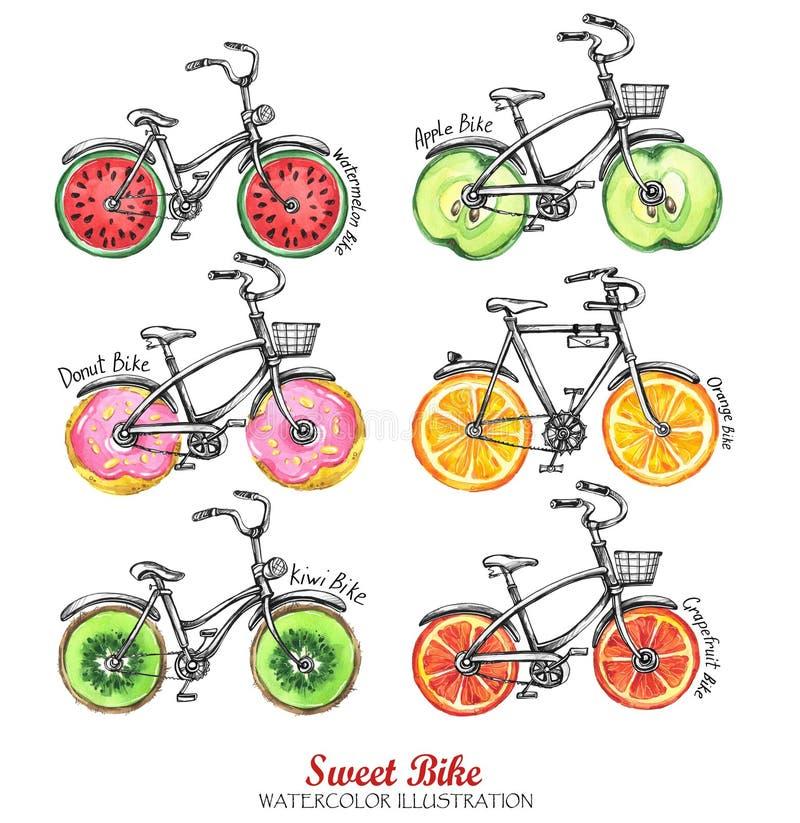 Ποδήλατα Watercolor με τους νωπούς καρπούς, donuts ρόδες Ζωηρόχρωμο θερινό σύνολο ελεύθερη απεικόνιση δικαιώματος