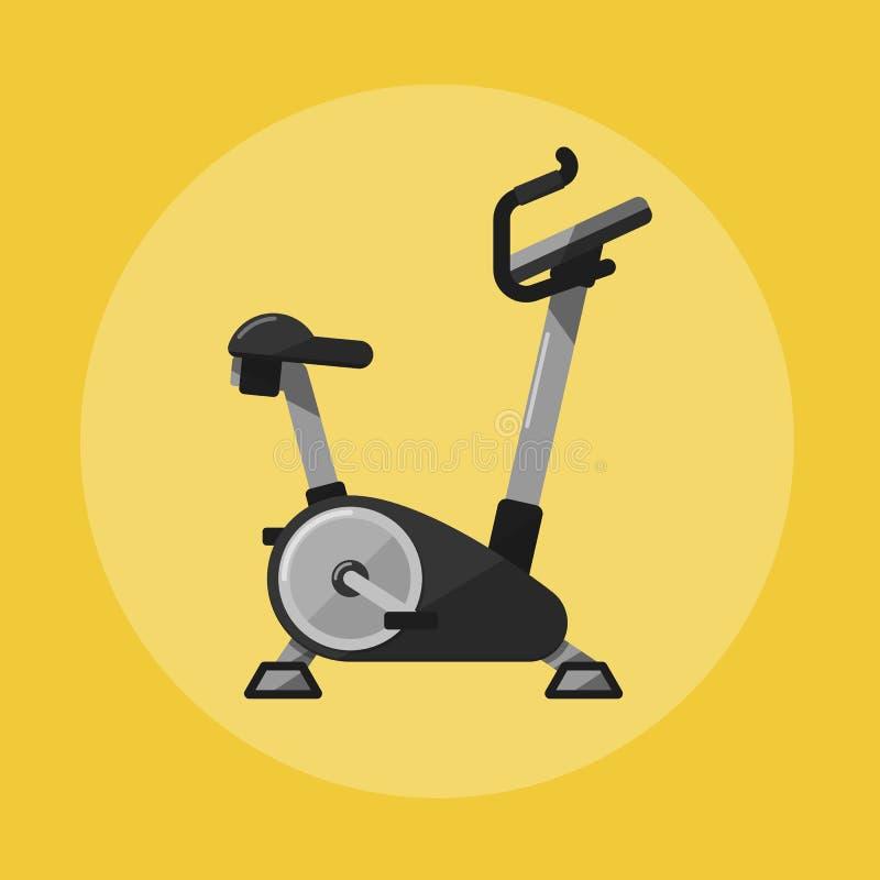 Ποδήλατο άσκησης Εικονίδιο αθλητικού εξοπλισμού γυμναστικής διανυσματική απεικόνιση