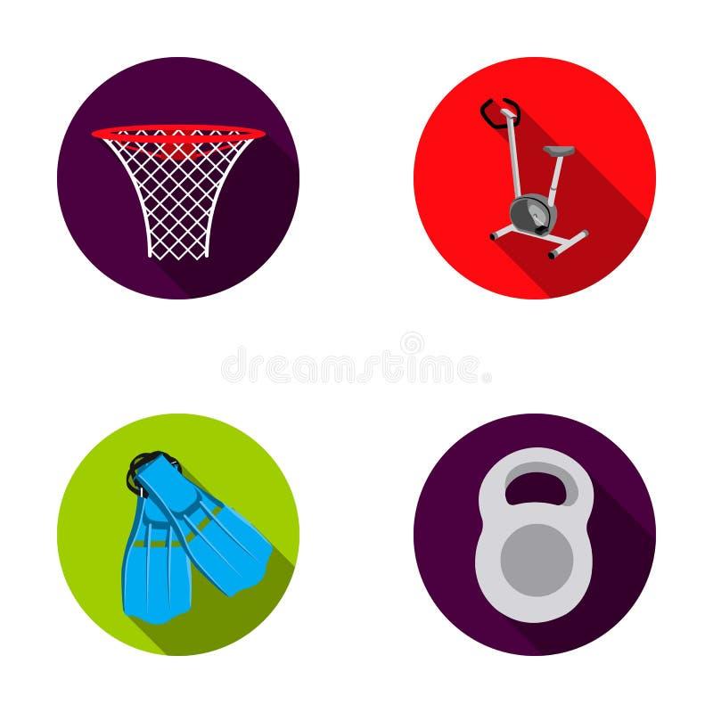 Ποδήλατο άσκησης με έναν μετρητή, πτερύγια για την κολύμβηση, ένα βάρος, ένα καλάθι καλαθοσφαίρισης Εικονίδια αθλητικής καθορισμέ απεικόνιση αποθεμάτων
