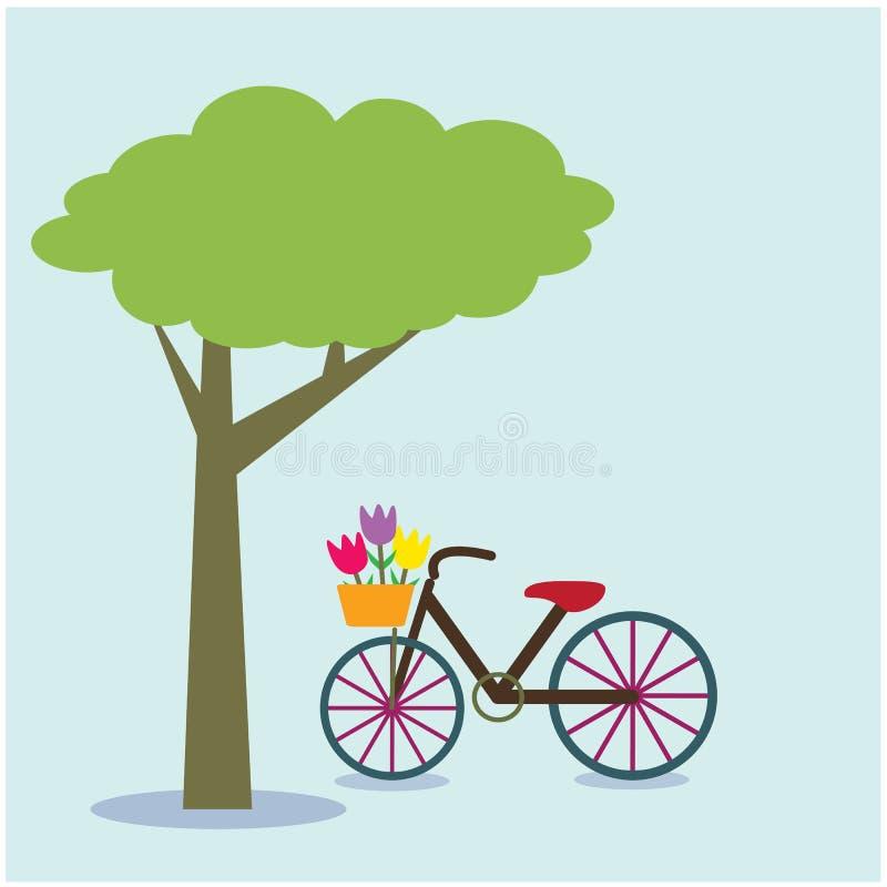 Ποδήλατο κάτω από ένα δέντρο στο υπόβαθρο ελεύθερη απεικόνιση δικαιώματος