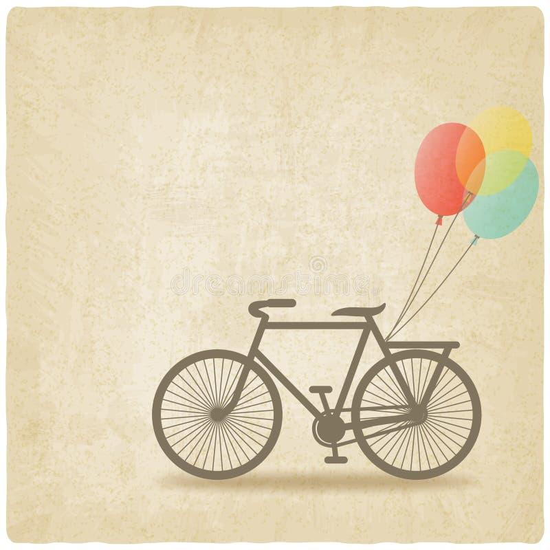 Ποδήλατο με το παλαιό υπόβαθρο μπαλονιών διανυσματική απεικόνιση