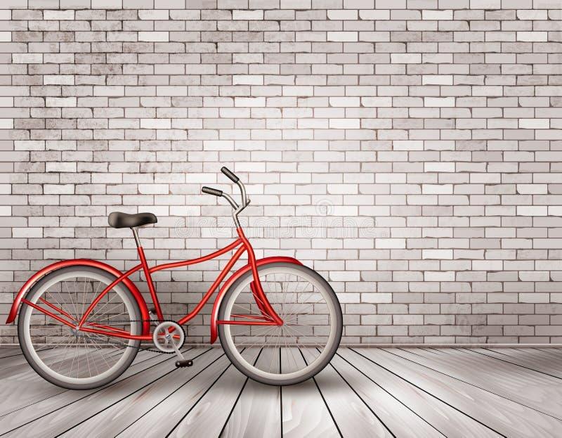 Ποδήλατο μπροστά από έναν γκρίζο τουβλότοιχο διανυσματική απεικόνιση