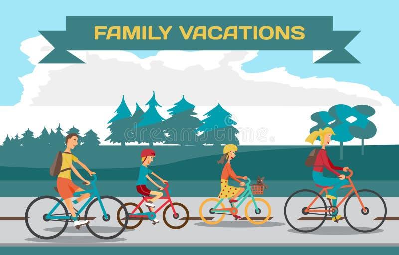 Ποδήλατο οικογενειακού γύρου στην εθνική οδό Υγιής οδήγηση ελεύθερου χρόνου και ελευθερίας απεικόνιση αποθεμάτων