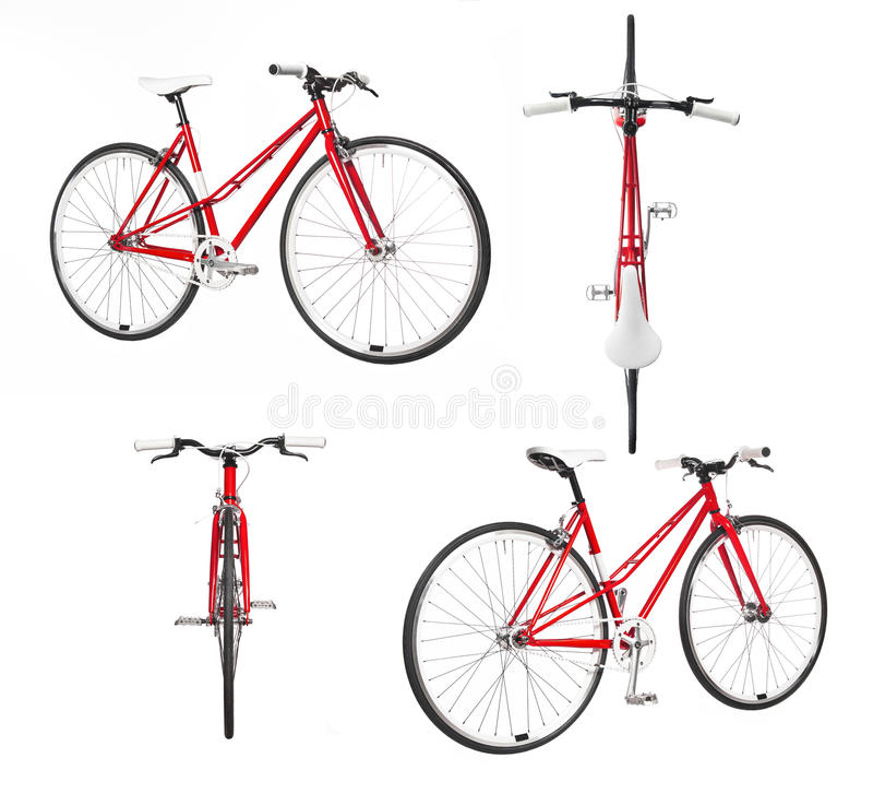 Ποδήλατο πόλεων γυναικών την άποψη τέσσερα που απομονώνεται από στοκ εικόνα με δικαίωμα ελεύθερης χρήσης
