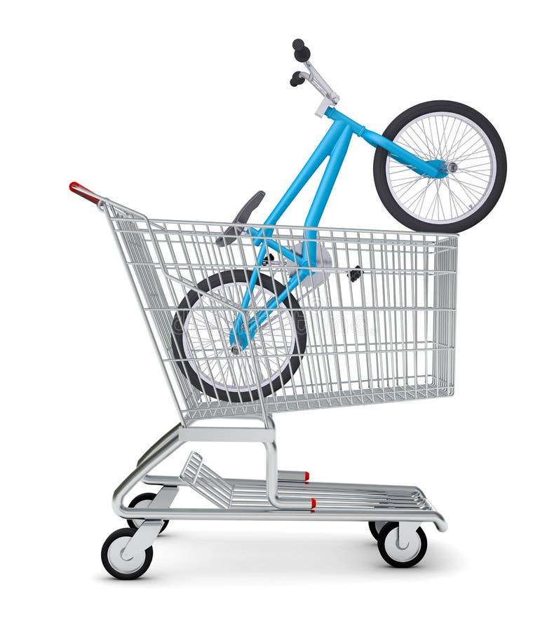 Ποδήλατο στο κάρρο αγορών ελεύθερη απεικόνιση δικαιώματος