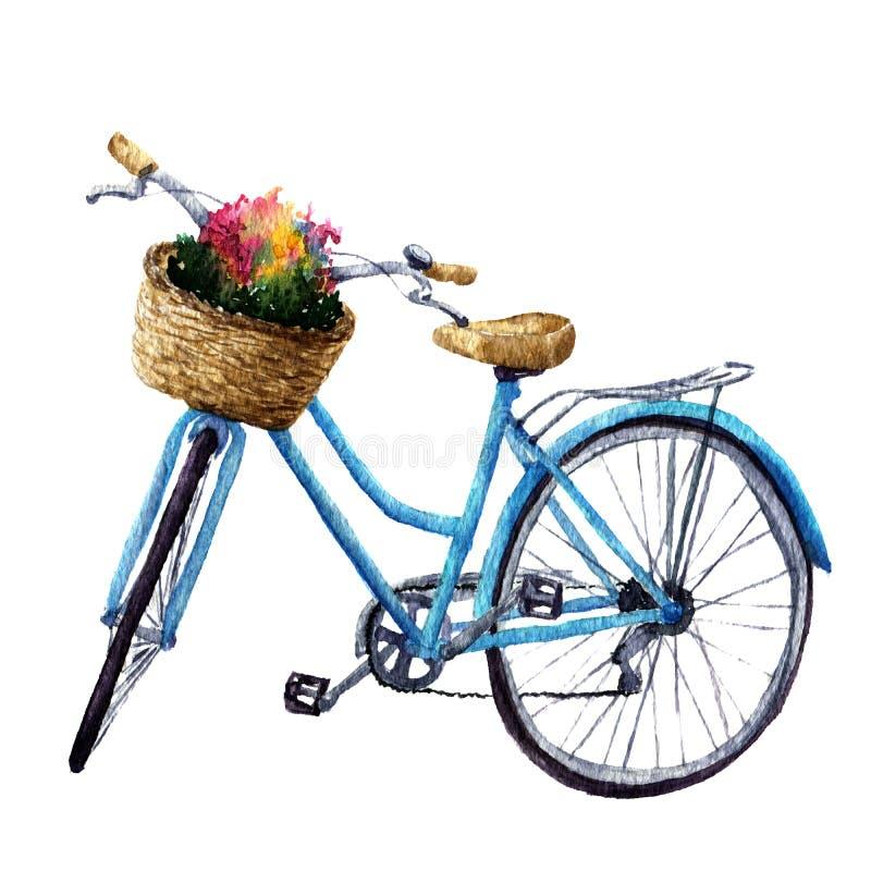 Ποδήλατο Watercolor με τα λουλούδια στο καλάθι Θερινή απεικόνιση που απομονώνεται στο άσπρο υπόβαθρο Για το σχέδιο, τις τυπωμένες ελεύθερη απεικόνιση δικαιώματος