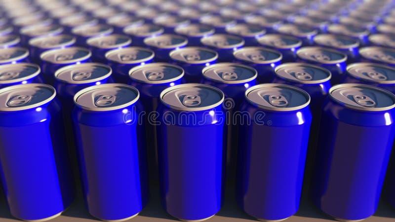 Πολλαπλάσια μπλε δοχεία αργιλίου, ρηχή εστίαση Μη αλκοολούχα ποτά ή παραγωγή μπύρας Συσκευασία ανακύκλωσης τρισδιάστατη απόδοση στοκ εικόνες με δικαίωμα ελεύθερης χρήσης