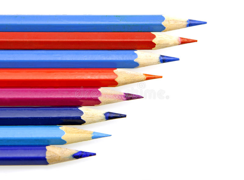 Πολλαπλάσιο ξύλινο μολύβι χρώματος στο άσπρο υπόβαθρο στοκ εικόνες με δικαίωμα ελεύθερης χρήσης