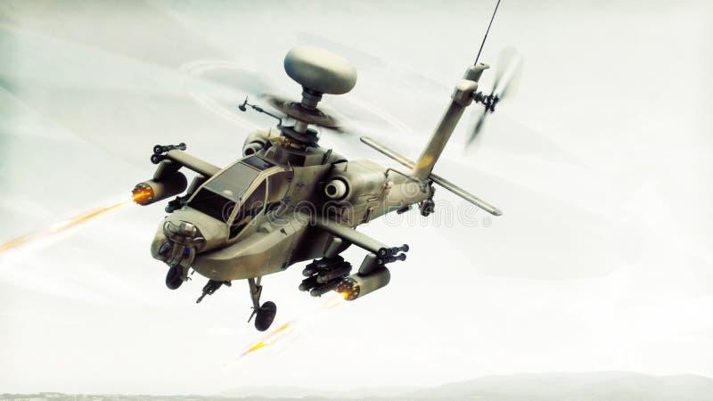 Πολεμικό σκάφος ελικοπτέρων τόξων Apache επίθεσης που δεσμεύει έναν στόχο που βάζει φωτιά στους πυραύλους του ελεύθερη απεικόνιση δικαιώματος