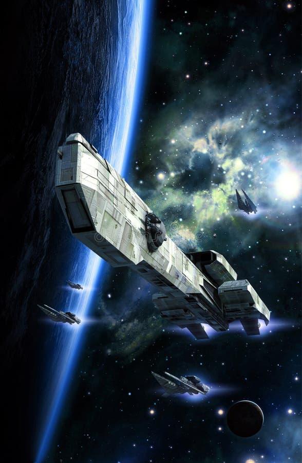 Πολεμικό σκάφος και μαχητές Spasceship διανυσματική απεικόνιση