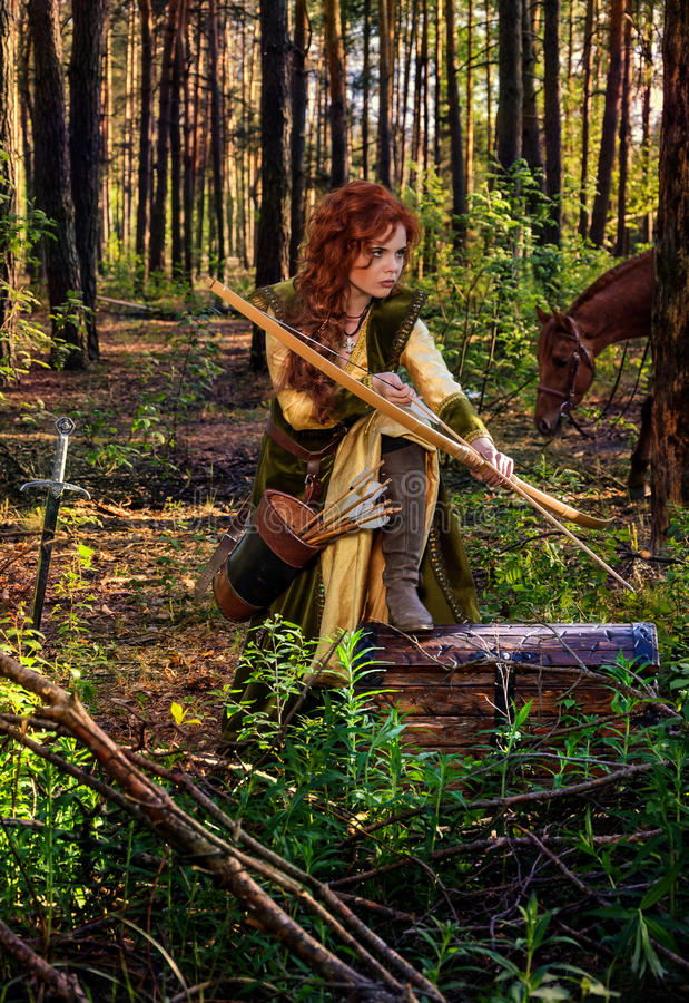 Πολεμιστής γυναικών που οπλίζεται με ένα τόξο στην πλάτη αλόγου στοκ φωτογραφία με δικαίωμα ελεύθερης χρήσης