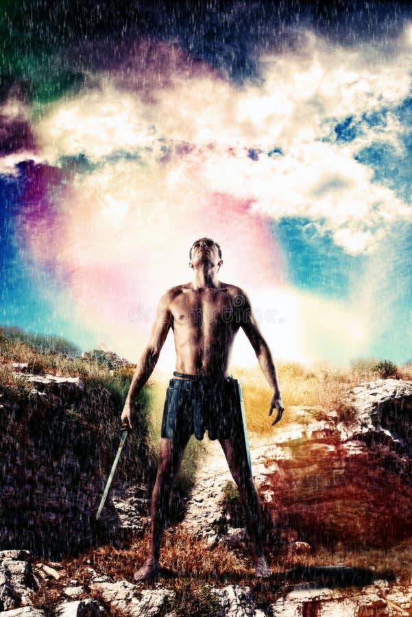 Πολεμιστής που εξετάζει τον ουρανό στοκ φωτογραφία με δικαίωμα ελεύθερης χρήσης