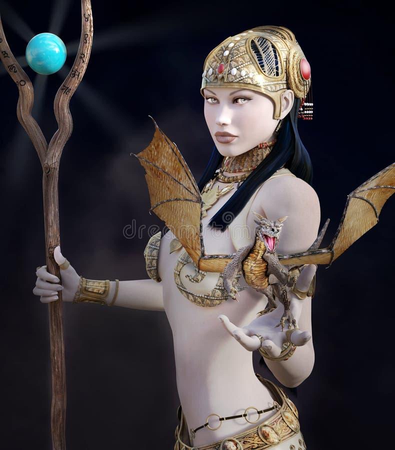 Πολεμιστής φαντασίας με scepter και το δράκο ελεύθερη απεικόνιση δικαιώματος