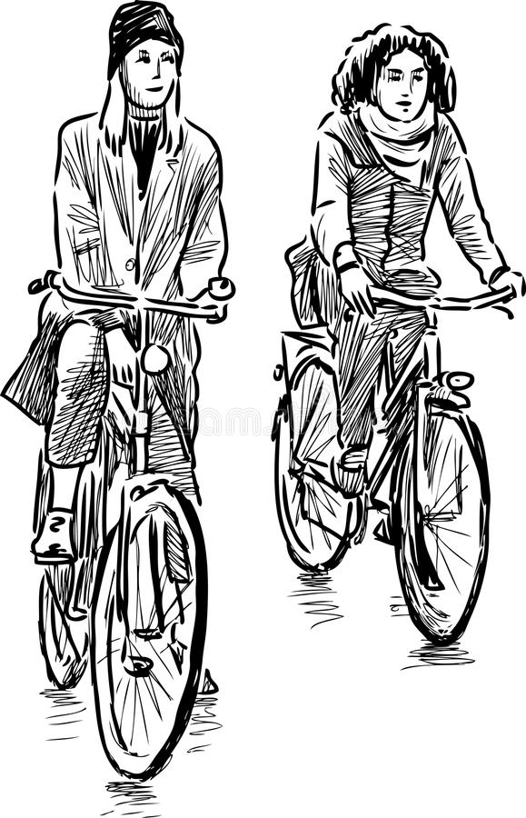 Ποδηλάτες κοριτσιών διανυσματική απεικόνιση