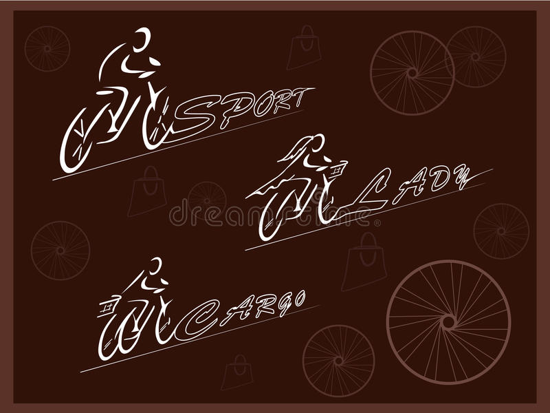 ποδηλάτες Ποδήλατα για διαφορετικούς λόγους Ποδήλατο των αθλητών και των γυναικών Τρίτροχο ποδήλατο φορτίου διάνυσμα διανυσματική απεικόνιση
