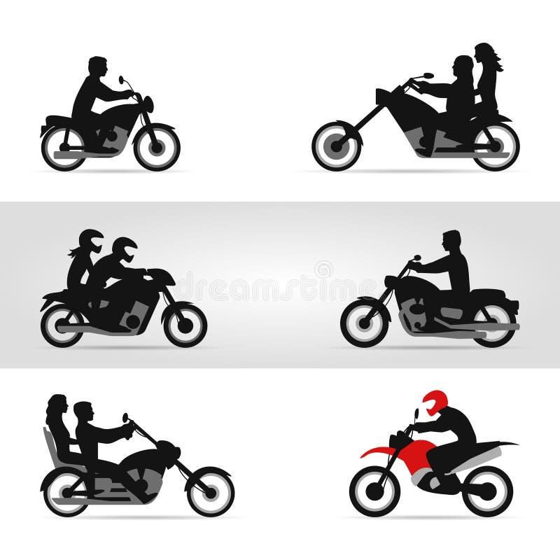 Ποδηλάτες στις μοτοσικλέτες απεικόνιση αποθεμάτων