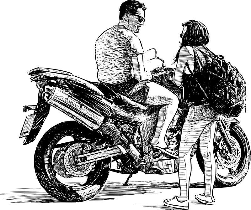 Ποδηλάτης και τουρίστας ελεύθερη απεικόνιση δικαιώματος
