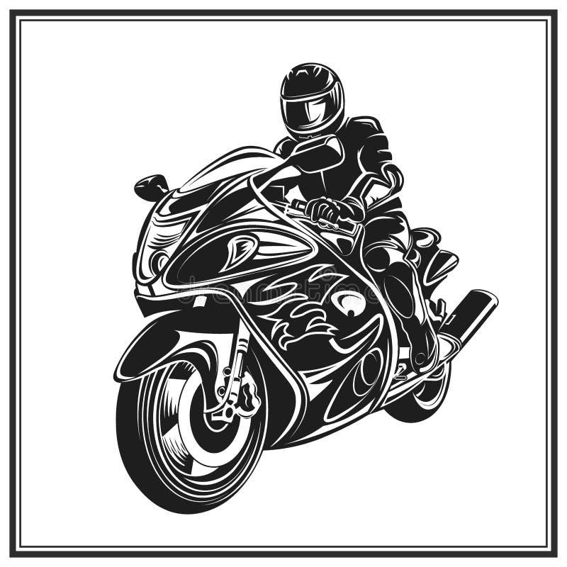 Ποδηλάτης που οδηγά μια μοτοσικλέτα Έμβλημα γεγονότος ή φεστιβάλ ποδηλατών διανυσματική απεικόνιση