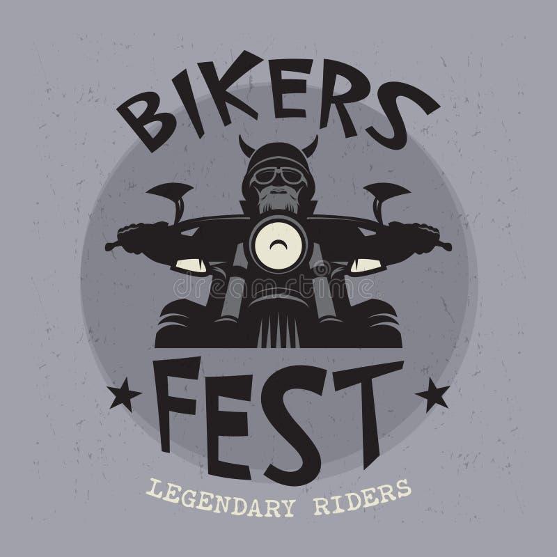 Ποδηλάτης που οδηγά μια μοτοσικλέτα Έμβλημα γεγονότος ή φεστιβάλ ποδηλατών ελεύθερη απεικόνιση δικαιώματος