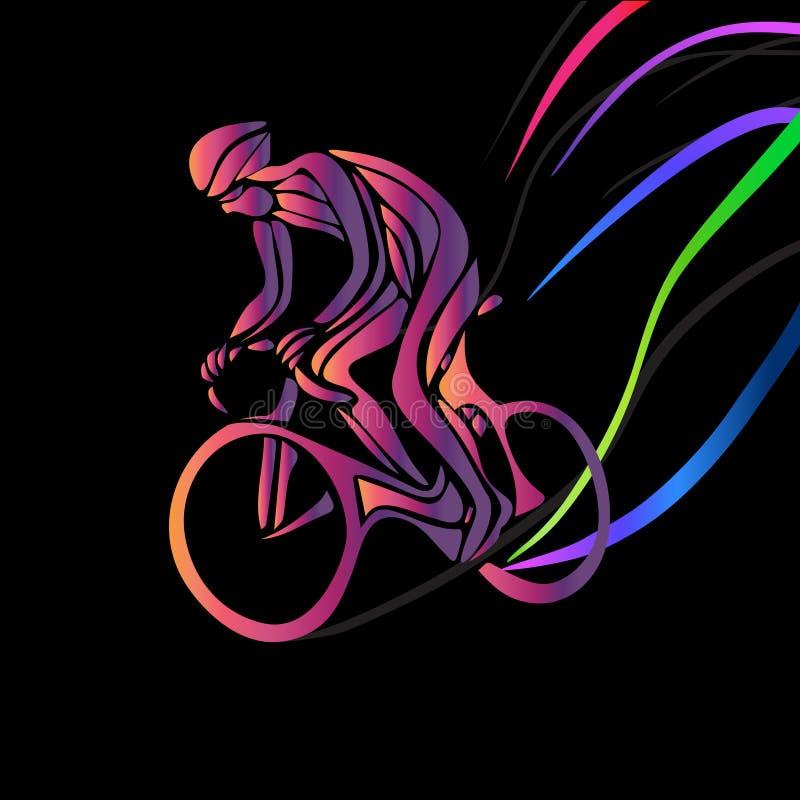 Ποδηλάτης σε μια φυλή ποδηλάτων Διάνυσμα χρώματος clipart ελεύθερη απεικόνιση δικαιώματος