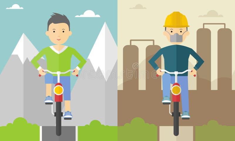 Ποδηλάτης στα βουνά και στην πόλη ελεύθερη απεικόνιση δικαιώματος