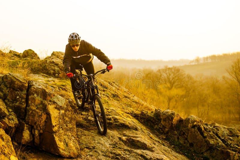 Ποδηλάτης Enduro που οδηγά το ποδήλατο βουνών κάτω από το όμορφο δύσκολο ίχνος Ακραία αθλητική έννοια Διάστημα για το κείμενο στοκ εικόνα