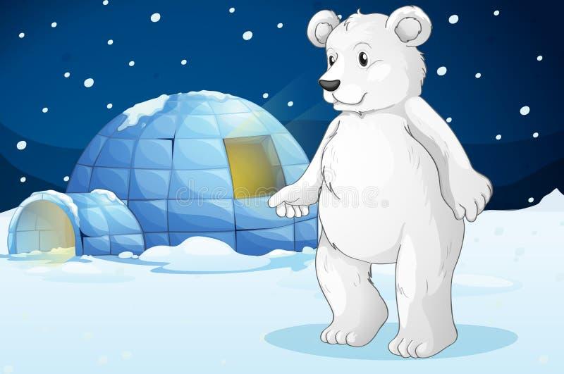 Πολική αρκούδα και παγοκαλύβα ελεύθερη απεικόνιση δικαιώματος