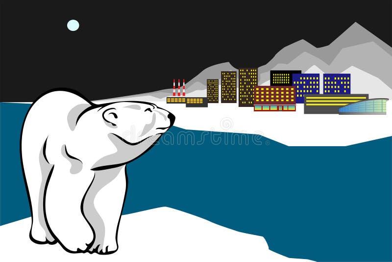 Πολική αρκούδα και πόλη νύχτας στοκ εικόνα
