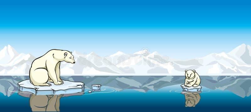 Πολική αρκούδα και το μωρό του. Παγκόσμια αύξηση της θερμοκρασίας λόγω του φαινομένου του θερμοκηπίου. απεικόνιση αποθεμάτων