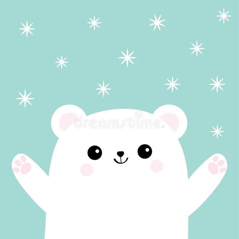 Πολικός άσπρος μικρός λίγο cub αρκούδων Επίτευξη για ένα αγκάλιασμα Χαριτωμένο εικονίδιο χαρακτήρα μωρών κινούμενων σχεδίων Ανοικ απεικόνιση αποθεμάτων