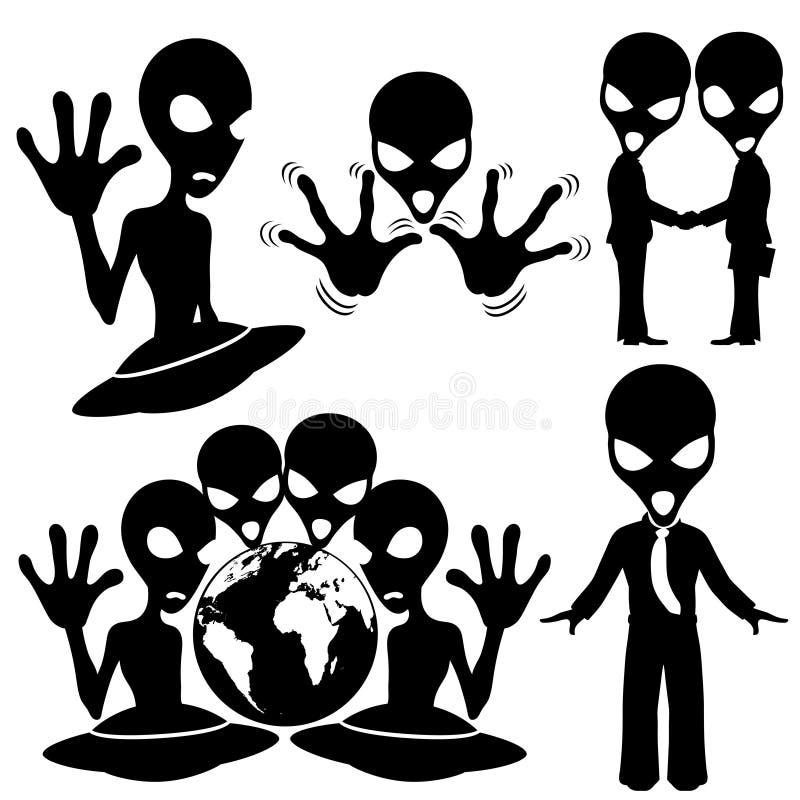 πολικό καθορισμένο διάνυσμα καρδιών κινούμενων σχεδίων Εξωγήινος ελεύθερη απεικόνιση δικαιώματος