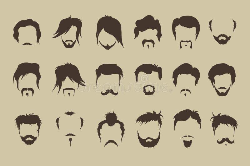 πολικό καθορισμένο διάνυσμα καρδιών κινούμενων σχεδίων τρίχα, mustache, γενειάδα απεικόνιση αποθεμάτων