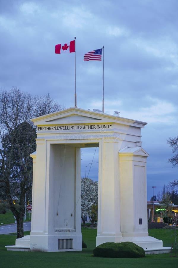 Πολιτεία - καναδικά σύνορα κοντά στο Βανκούβερ - τον ΚΑΝΑΔΑ στοκ εικόνες