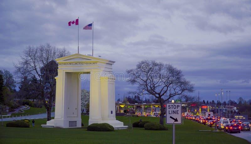 Πολιτεία - καναδικά σύνορα κοντά στο Βανκούβερ - τον ΚΑΝΑΔΑ στοκ εικόνα