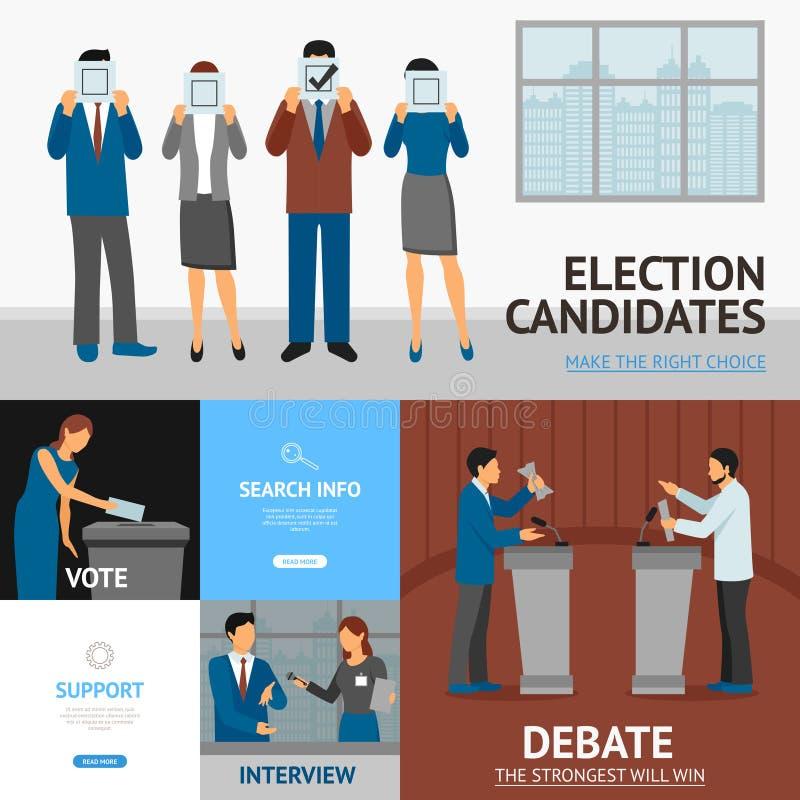 Πολιτική σύνθεση εμβλημάτων εκλογής επίπεδη ελεύθερη απεικόνιση δικαιώματος